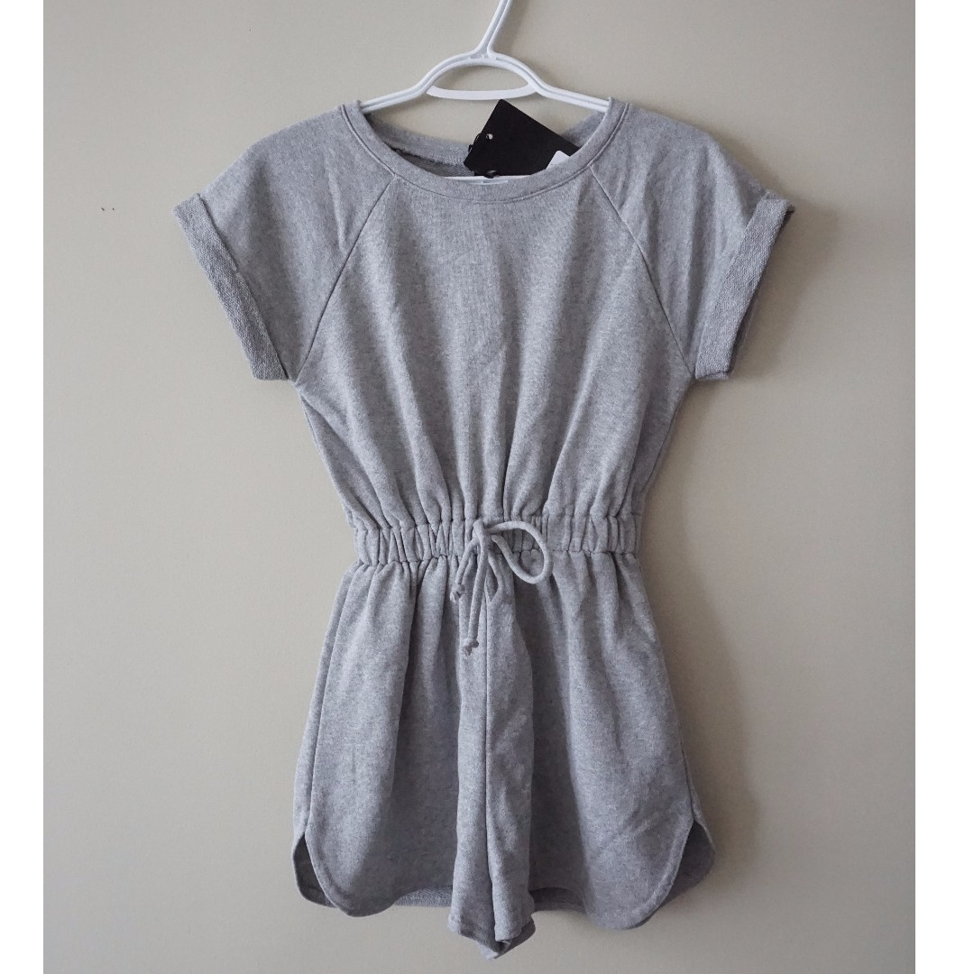 MISSGUIDED Grey Romper with Cinched Waist