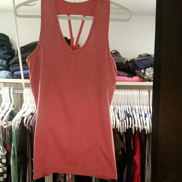 Orange Workout Top With Built In Bra