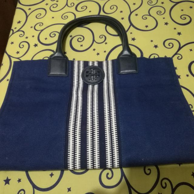 REPRICED: Original Tory Burch Navy Blue Tote Bag