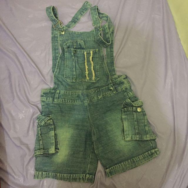 overalls baju kodok jeans pendek