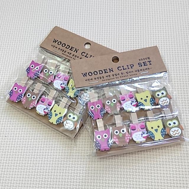 Owl Wooden Clip Set