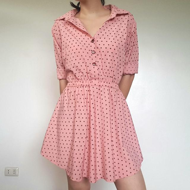 Pink Button Up Dress