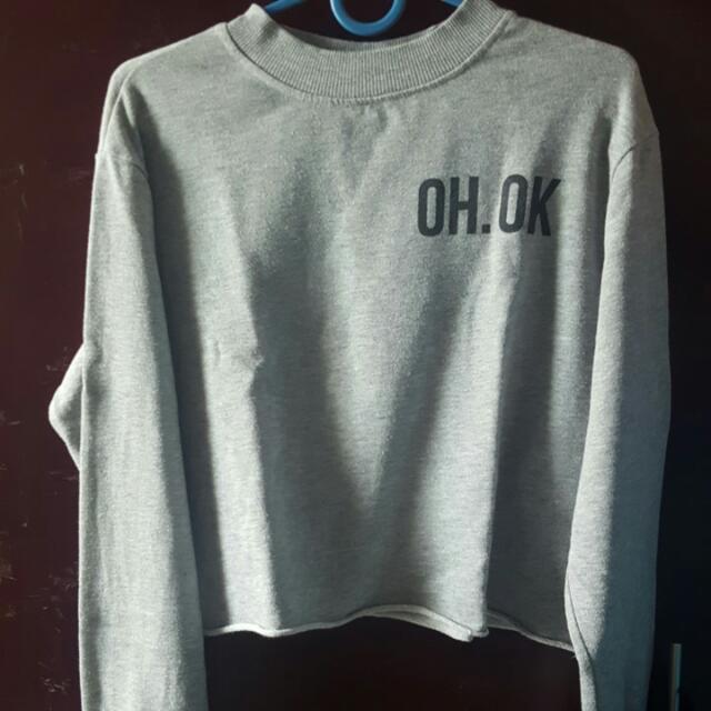 "Pull n Bear crop t sweater ""oh.ok"""