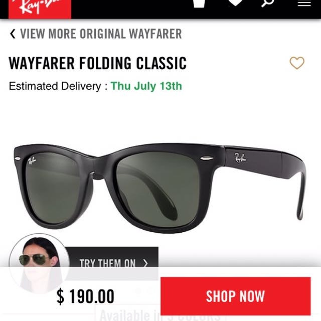 Rayban Wayfarer Fold Up