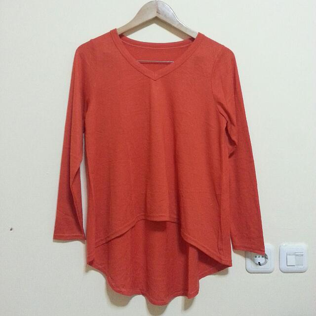 Red Asymmetric Sweater
