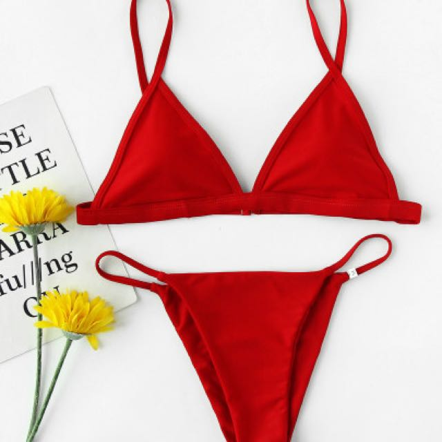 Red Triangle Bikini, High Rise Cheeky Bottoms