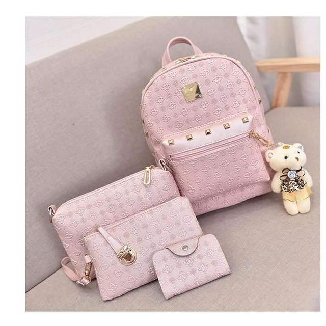 Set 5 PC of backpack, shoulder bag,wallet,card holder and cute bear