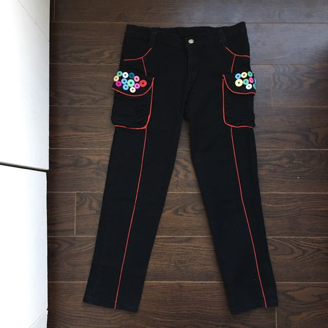 Size 5-7/M Black Crop Jeans With Red Lines And Fun Colourful Buttons