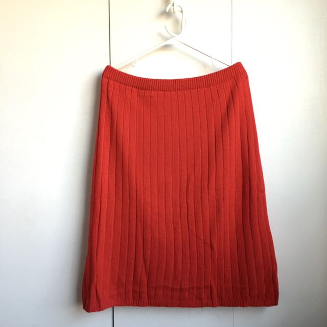 Size L-Xl Vintage Mixed Wool Angora Red Sweater Skirt Vintage!!!