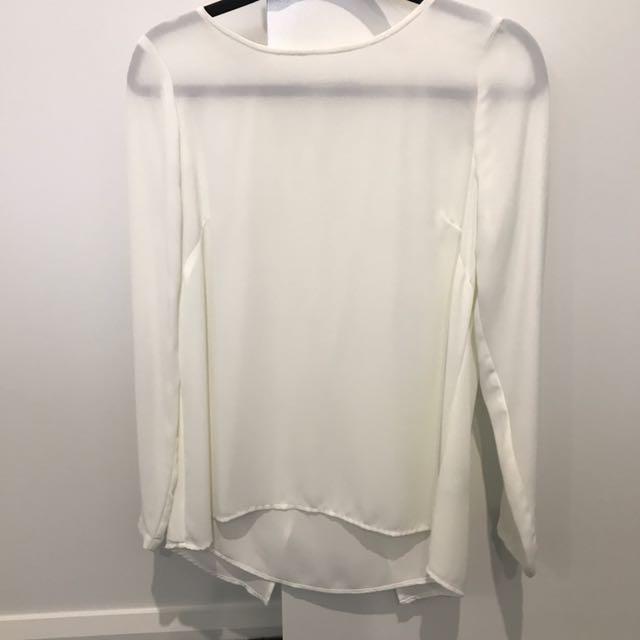 SPORTSGIRL White Blouse (Size 8)