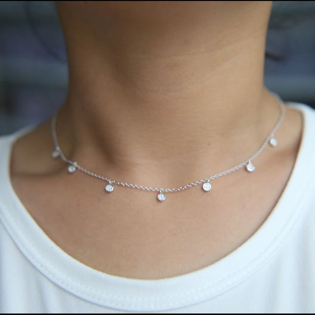 Sterling Silver Choker Necklace With Crystals