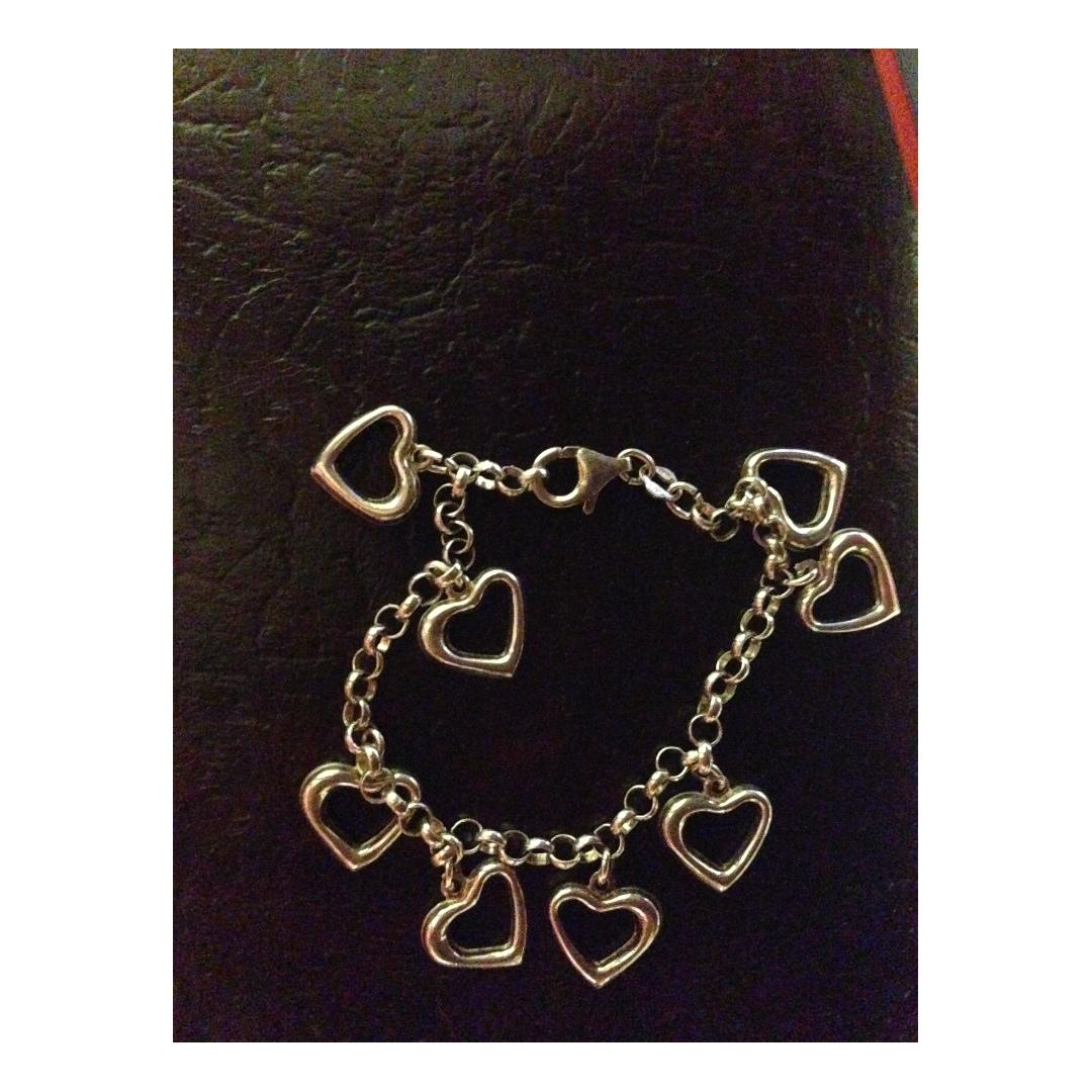 Sterling silver hearts charms bracelet