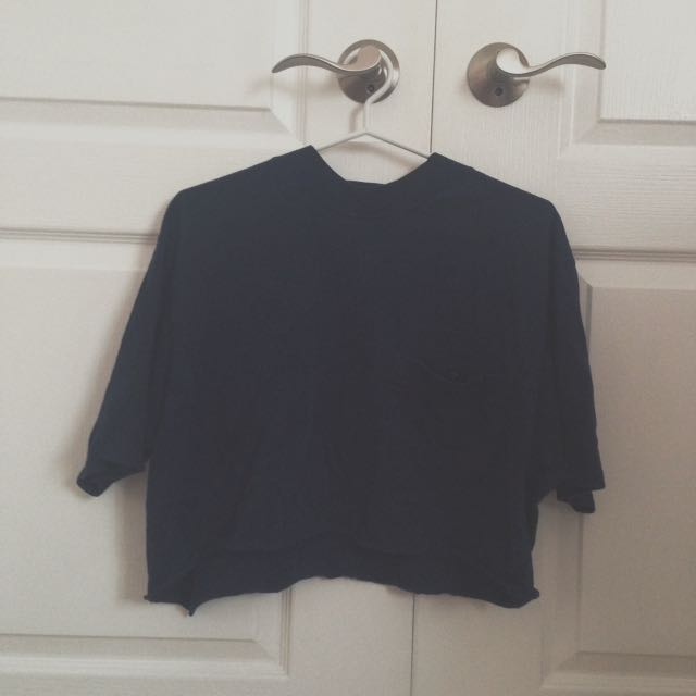 Vintage Navy Blue Cropped Tee