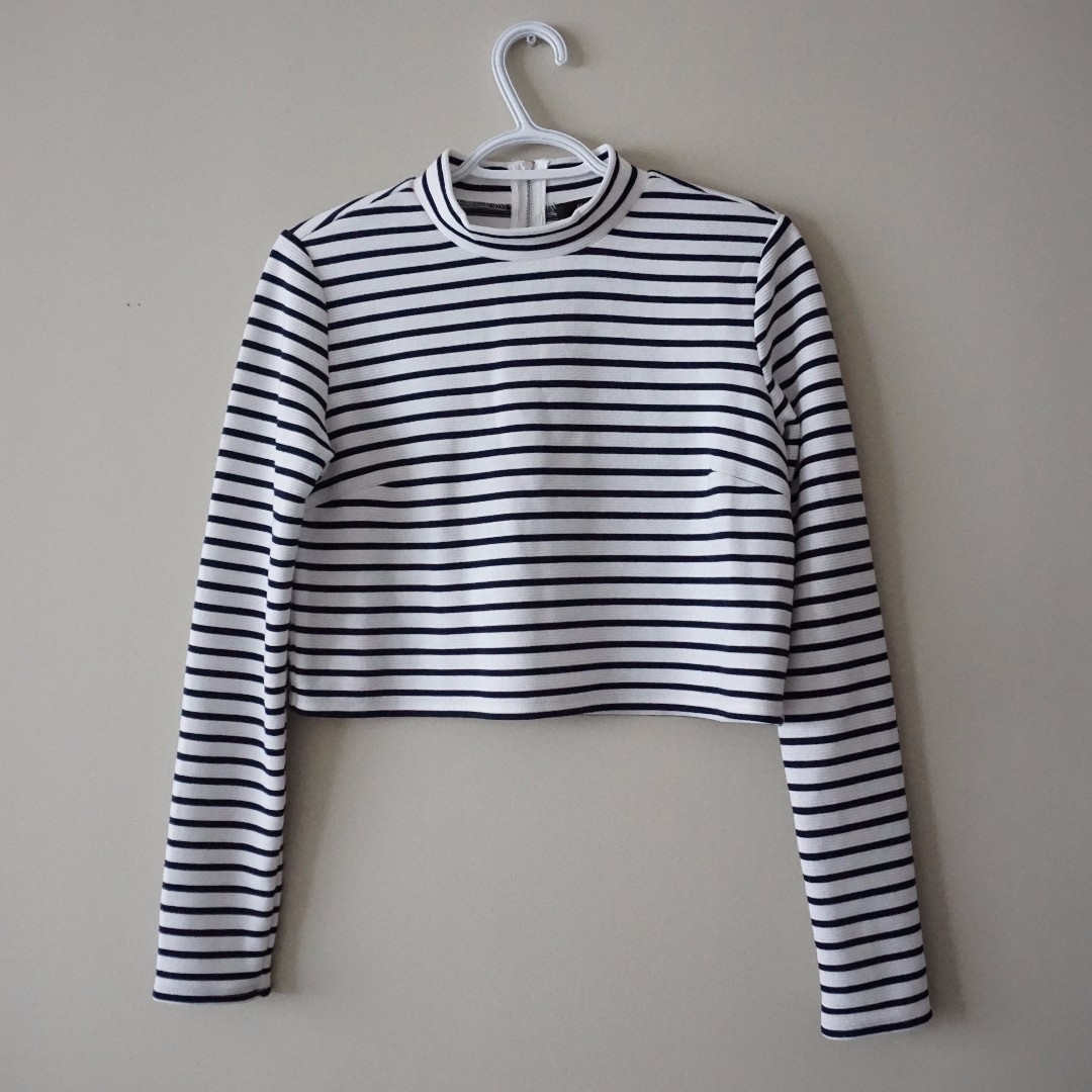 White and Navy Striped Mockneck Crop Top