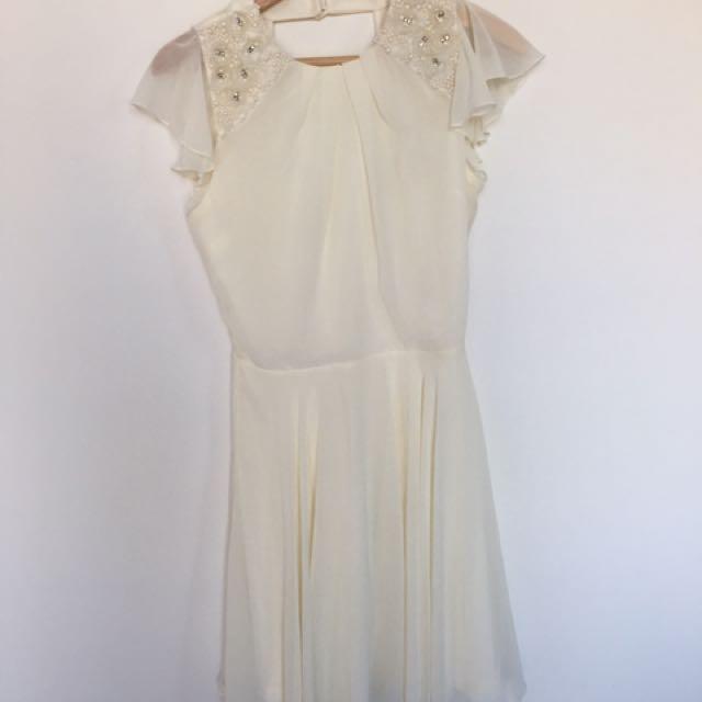 White Embellished Dress - S