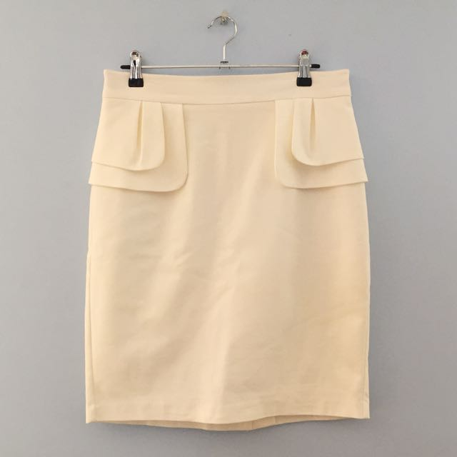White Peplum Skirt Size 12