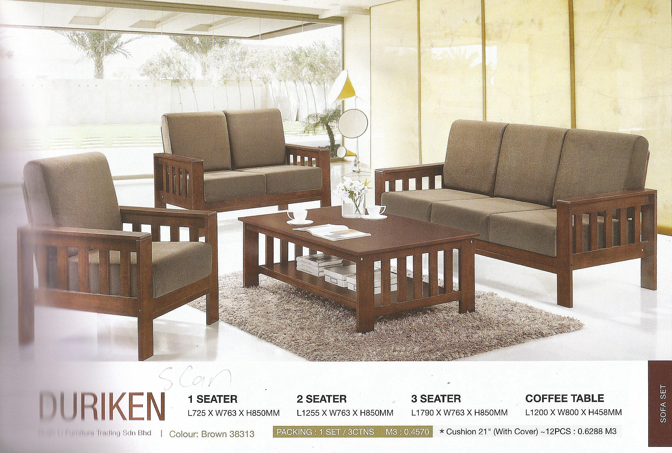 Wooden Sofa Set With Cushion Model