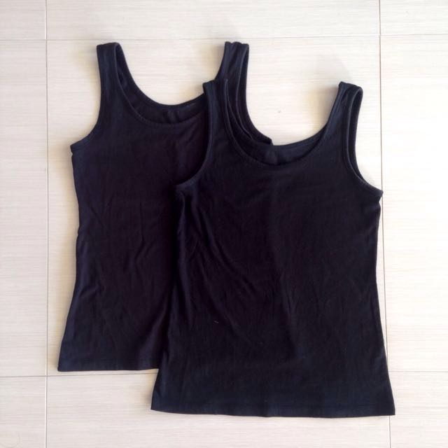 x2 Size 8 Basic Black Tank Tops