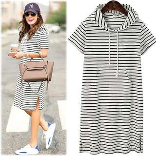 Comfy Striped Hoodie Dress With Pocket