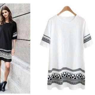 Abstract Print Cotton Dress