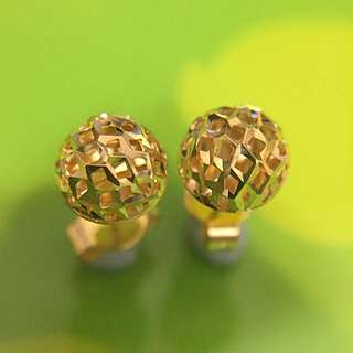 18K 黃金 波波 耳環 Yellow Gold Ball Earrings