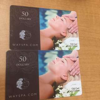 2 - $50.00 Gift cards for Way Spa
