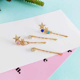 【flyer的旅行箱】日系甜美精緻星星寶石 髮飾/邊夾/髮夾 兩色