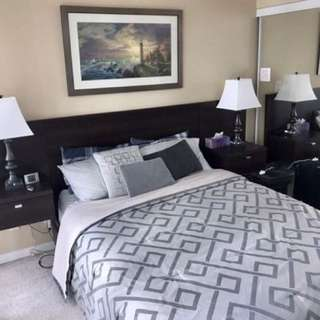 Queen Bed With Floating Side Tables And 3 Drawers
