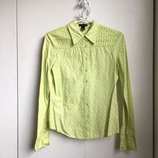 Size S Club Monaco Light Green Dress Short Button Up Office Shirt 100% Cotton