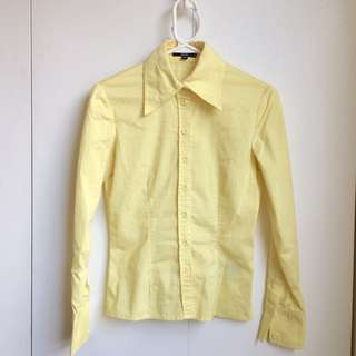 Size S Bedo Canadian Slight Stretch Bring Yellow Dress Short Office Button Up Shirt