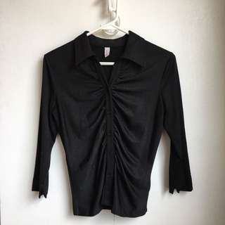 Size s Black Stretchy Dress Shirt Office Button Up Shirt