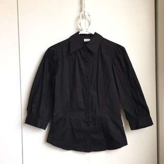 Size Xs Wide Sleeves Black Dress Shirt Office Button Up Shirt
