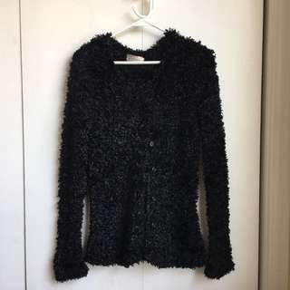 Size M-XL Vintage Japanese Fuzzy Black Faux Fur Cardigan Button Up Blazer Jacket