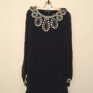 French connection Beaded Silk Dress