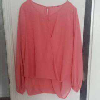Sheer High Low Blouse (L)