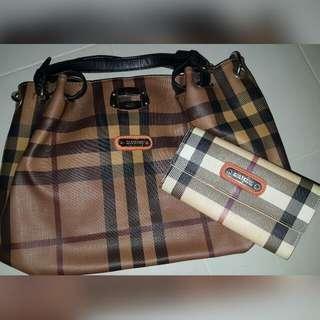 Burberry Handbag And Purse Set