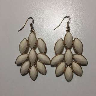 White & Gold Long Earrings