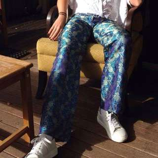 BLUE SPARKLY FLARED PANTS