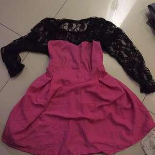 Brukat Back pink dress