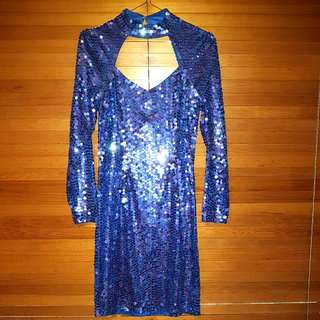 Vintage 80's / 90's Blue Sequin Dress Size 12
