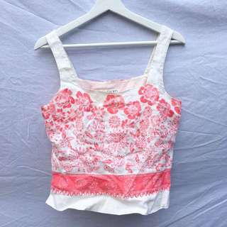 Pink And White Floral Top