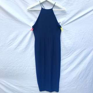 Navy Blue Spaghetti Strap Elastic Dress