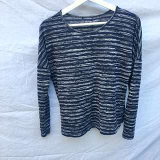 Blue/Black And White Striped Long-Sleeve Top