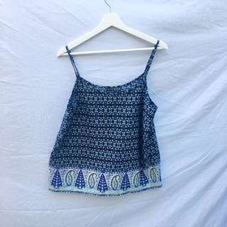 Blue Patterned Spaghetti Strap Top
