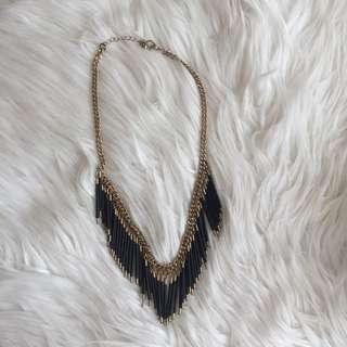 Black Fringe Necklace
