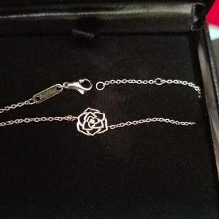 18k White Gold Piaget Rose With Tiny Diamond Bracelet