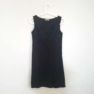 Maje Black Lace Mini Dress With Ribbon
