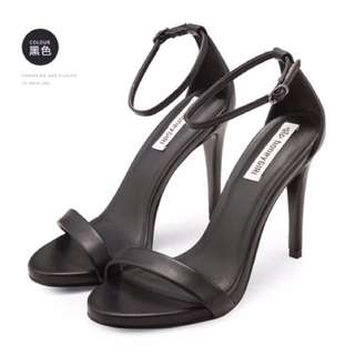 歐美款一字帶露趾高跟鞋