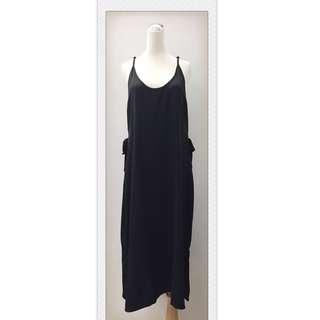 017S283 - 細肩帶後交叉側綁帶開衩雪紡吊帶裙