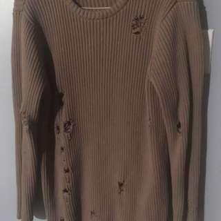 H&M Men's Distressed Tan Sweater